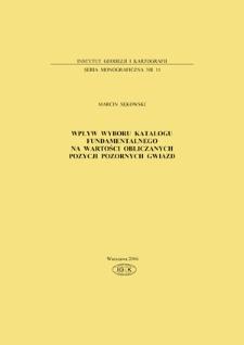 Wpływ wyboru katalogu fundamentalnego na wartości obliczanych pozycji pozornych gwiazd