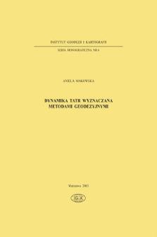 Dynamika Tatr wyznaczana metodami geodezyjnymi