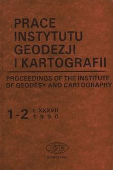 Prace Instytutu Geodezji i Kartografii 1990 t. 37 z. 1-2 (84-85) - wprowadzenie