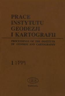 Prace Instytutu Geodezji i Kartografii 1992 t. 39 z.1(87) - wprowadzenie