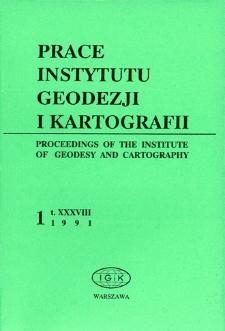 Prace Instytutu Geodezji i Kartografii 1991 t. 38 z. 1(86) - wprowadzenie