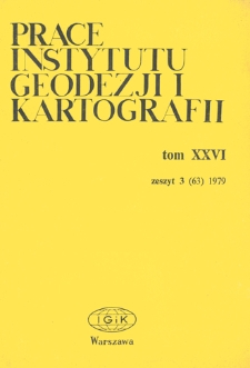 Prace Instytutu Geodezji i Kartografii 1979 t. 26 z. 3(63) - wprowadzenie