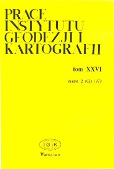 Prace Instytutu Geodezji i Kartografii 1979 t. 26 z. 2(62) - wprowadzenie