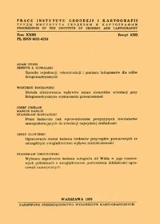 Prace Instytutu Geodezji i Kartografii 1976 t. 23 z. 1(52) - wprowadzenie