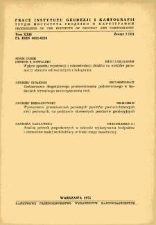 Prace Instytutu Geodezji i Kartografii 1975 t. 22 z. 2(51) - wprowadzenie