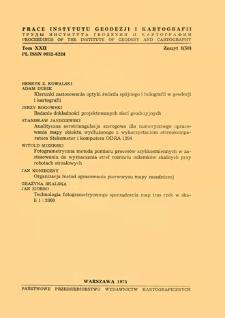 Analityczna aerotriangulacja szeregowa dla numerycznego opracowania mapy obiektu wydłużonego z wykorzystaniem stereokomparatora Stekometer i komputera ODRA 1204