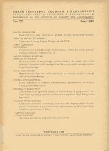 Prace Instytutu Geodezji i Kartografii 1973 t. 20 z. 2(47) - wprowadzenie