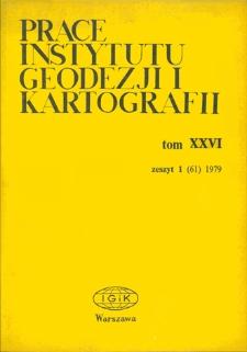 Prace Instytutu Geodezji i Kartografii 1979 t. 26 z. 1(61) - wprowadzenie