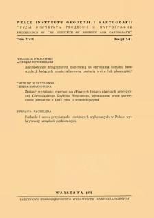 Prace Instytutu Geodezji i Kartografii 1970 t. 17 z. 2(41) - wprowadzenie