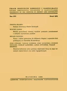 Prace Instytutu Geodezji i Kartografii 1969 t.16 z. 1(37) - wprowadzenie