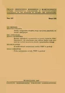 Prace Instytutu Geodezji i Kartografii 1967 t.14 z. 2(32) - wprowadzenie