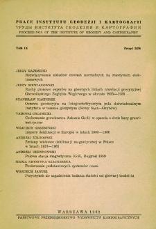 Prace Instytutu Geodezji i Kartografii 1962 t. 9 z. 2(20) - wprowadzenie