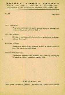 Prace Instytutu Geodezji i Kartografii 1962 t. 9 z. 1(19) - wprowadzenie