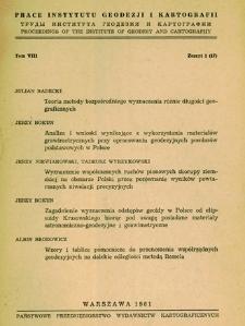 Prace Instytutu Geodezji i Kartografii 1961 t. 8 z. 1(17) - wprowadzenie