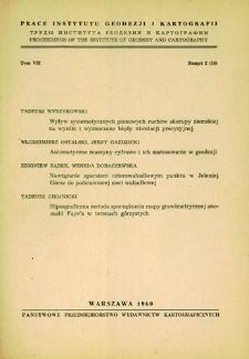 Prace Instytutu Geodezji i Kartografii 1960 t. 7 z. 2(16) - wprowadzenie