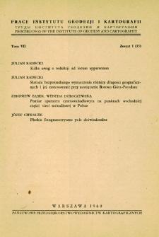 Prace Instytutu Geodezji i Kartografii 1960 t. 7 z. 1(15) - wprowadzenie