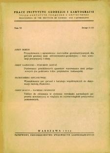 Prace Instytutu Geodezji i Kartografii 1958 t. 6 z. 1(13) - wprowadzenie
