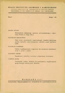 Prace Instytutu Geodezji i Kartografii 1957 t. 5 z. 1(10) - wprowadzenie
