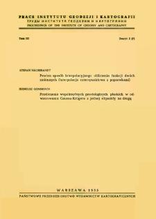 Prace Instytutu Geodezji i Kartografii 1955 t. 3 z. 3(7) - wprowadzenie