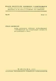 Prace Instytutu Geodezji i Kartografii 1955 t. 3 z. 1(5) - wprowadzenie