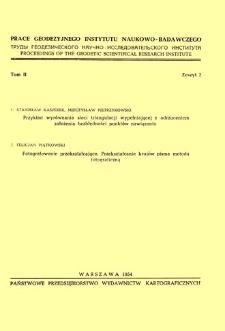 Prace Geodezyjnego Instytutu Naukowo-Badawczego 1954 t. 2 z. 2(4) - wprowadzenie