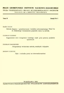 Metoda Zingera i przystosowanie teodolitu astronomicznego Wild T-4 do dokładnego wyznaczenia poprawki czasu tą metodą