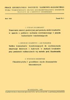 Prace Geodezyjnego Instytutu Naukowo-Badawczego 1953 t. 1 z. 1(1) - wprowadzenie