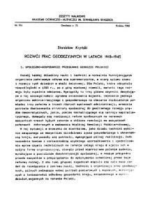 Rozwój prac geodezyjnych w latach 1918-1945