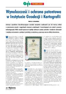 Wynalazczość i ochrona patentowa w Instytucie Geodezji i Kartografii