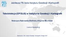 Teledetekcja (OPOLiS) w Instytucie Geodezji i Kartografii