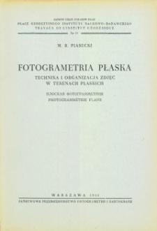 Fotogrametria płaska. Technika i organizacja zdjęć w terenach płaskich